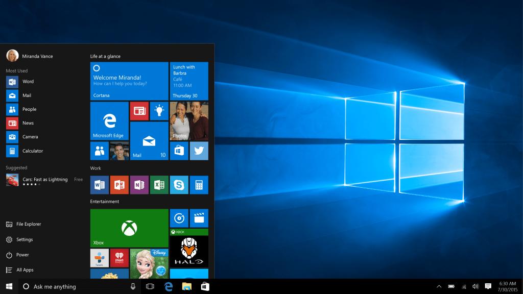 start menu windows 10