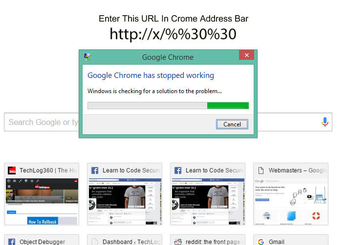 Crash Google Chrome