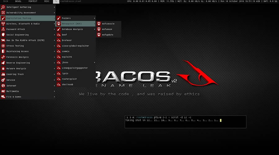 Dracos Linux - ethical hacking operating system