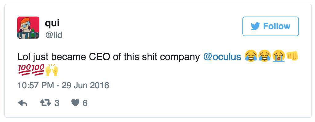 Oculus CEO's hacked Twitter account