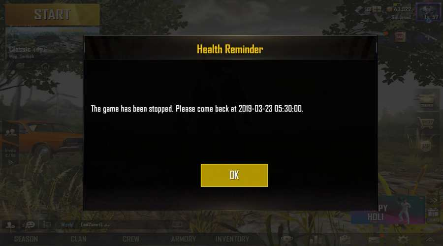 PUBG Mobile 6-hour per day restriction in India