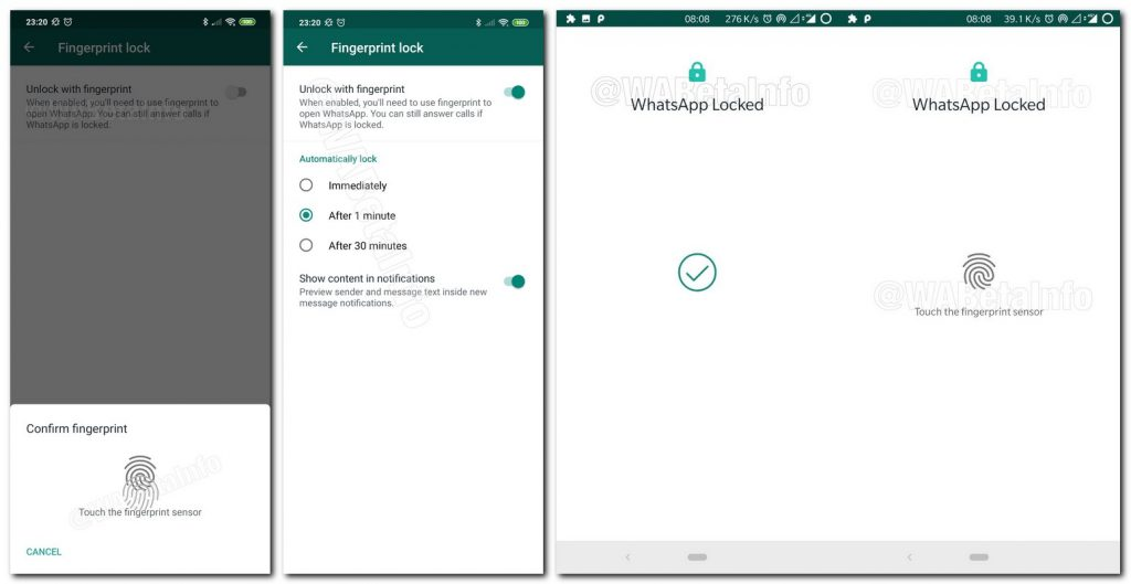 enable fingerprint lock feature on WhatsApp